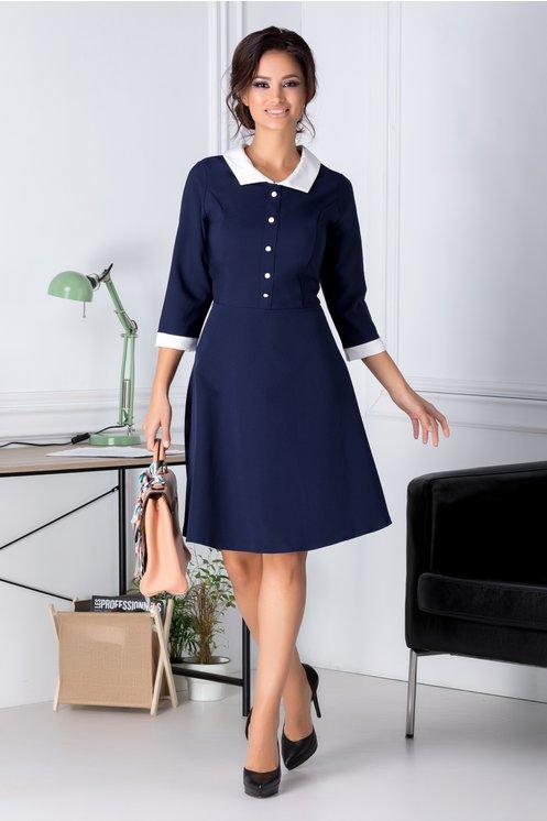 Rochie office ieftina eleganta bleumarin in clos maneci trei sferturi la moda