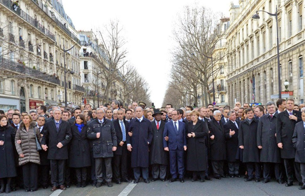 The iconic photo of world leaders at the march in Paris before being altered