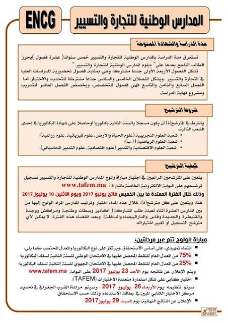 المدارس الوطنية للتجارة والتسيير فتح باب الترشيح ابتداء من الخميس فاتح يونيو 2017