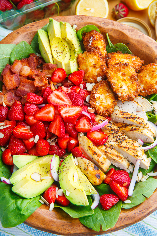 Strawberry and Avocado Chicken Salad with Crispy Fried Goat Cheese and Honey Lemon Dijon Poppy Seed Vinaigrette