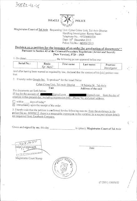 צו המצאת מסמכים הלקוי שהוציא השופט ירון גת בית משפט השלום תל אביב