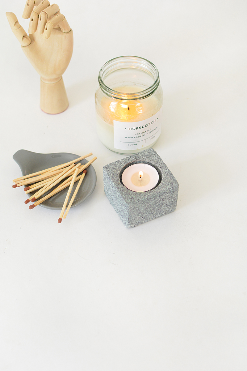 stone effect candle holder