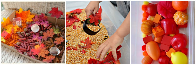 Autumn sensory bin ideas from And Next Comes L