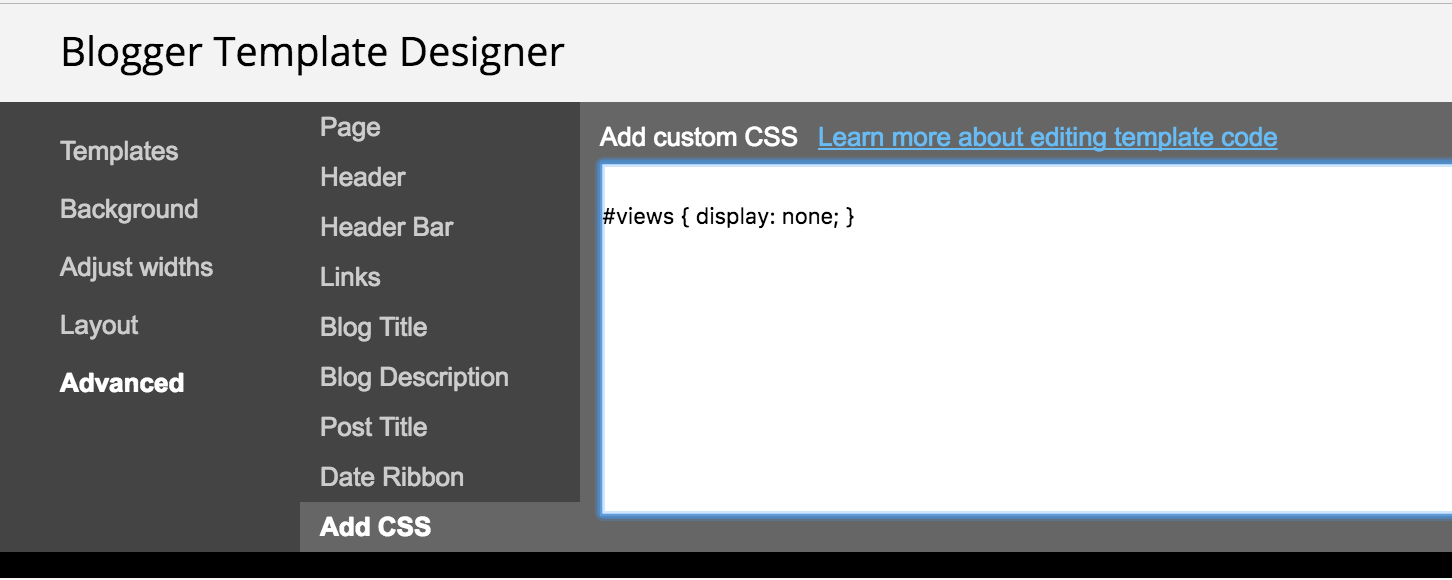 How to hack the header drawer of the blogger dynamic views template the first thing you need to do is log into blogger and click template then customize advanced add css maxwellsz