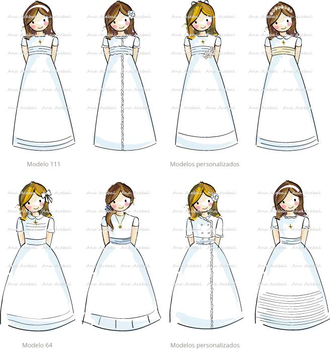 Modelos vestidos personalización recordatorios marca páginas Comunión originales