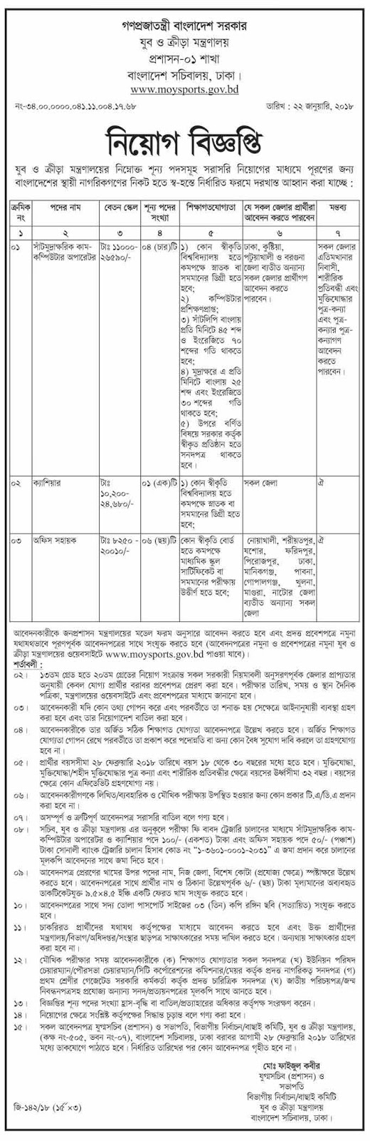 Ministry of Youth and Sports Job Circular 2018 www.moysports.gov.bd 2