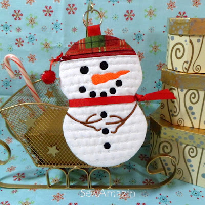 Christmas Plaid Snow Guy Zipper Case