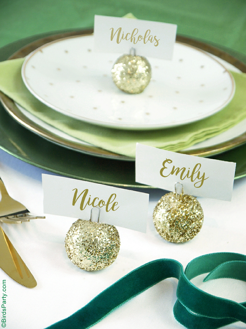 DIY Glitter Baubles Ornament Place-Card Holders