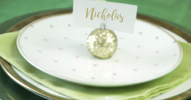 diy glitter baubles ornament placecard holders party ideas party printables