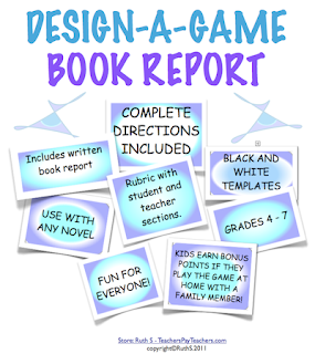 Design a Game Book report, book reports, comprehension strategies, rubric, sequence, homeschool, novel, books, gameboard