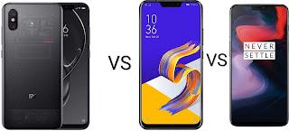 One Plus 6 vs Asus Zenfone 5z vs mi 8