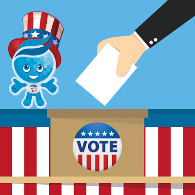 Image of Rio mascot Splash wearing a patriotic top hat and matching vote button.  in background is an illustrated hand casting a vote.