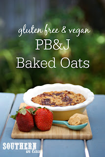 Healthy PB&J Baked Oatmeal Recipe - gluten free, vegan, healthy, egg free, dairy free, low fat, low calorie, sugar free, clean eating recipe
