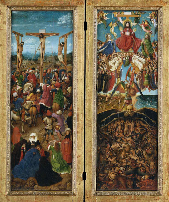 Crucificação e Juízo Final, Jan van Eyck  (1390 — 1441). Metropolitan Museum of Art, NYC.