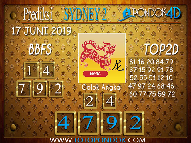 Prediksi Togel SYDNEY 2 PONDOK4D 17 JUNI 2019