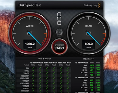 Captura de Pantalla BlackMagic Disk Speed Test Macbook Pro Retina Finales 2015