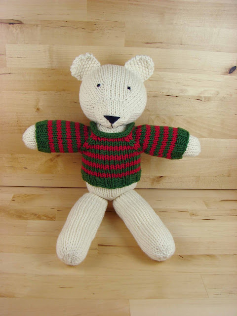 toy, knit, bear, white, green, red, polar, knitted, animal, holiday, Christmas