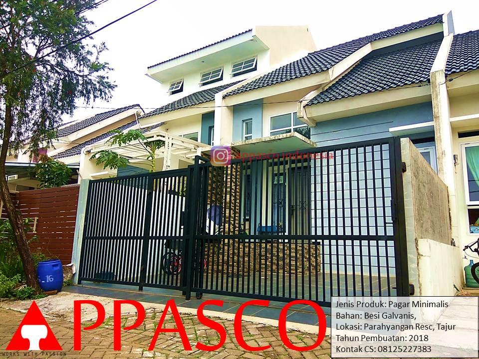 Pagar Minimalis Modern Sederhana Vertikal Garis Besi Galvanis di Parahyangan Tajur Bogor
