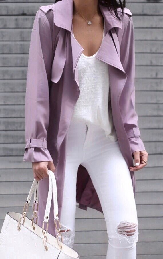 white and purple outfit idea: coat + top + rips + bag