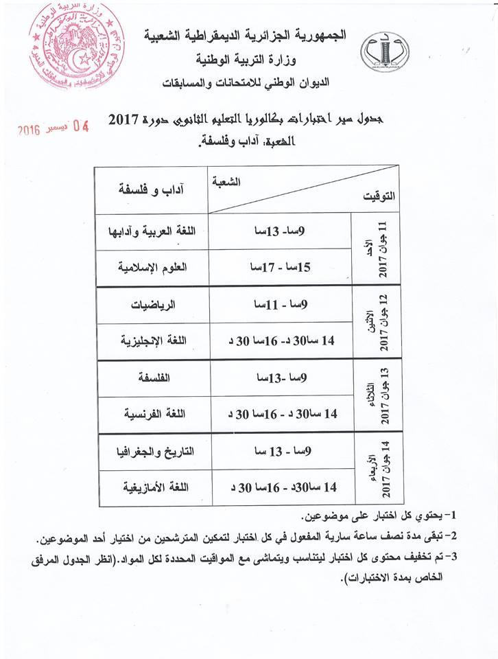 جدول سير اختبارات شهادة البكالوريا  آداب وفسلفة :