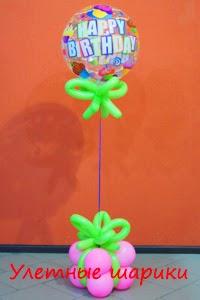 Букет с подарком из воздушных шаров на день рождения