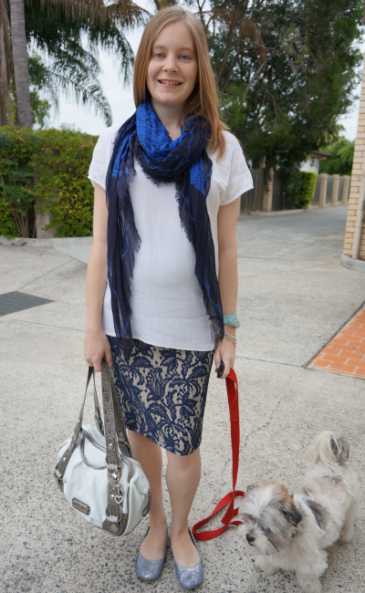 Untucked tee over asos blue lace pencil skirt alexander mcqueen scarf