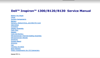 Dell Inspiron 1300 Service Manual
