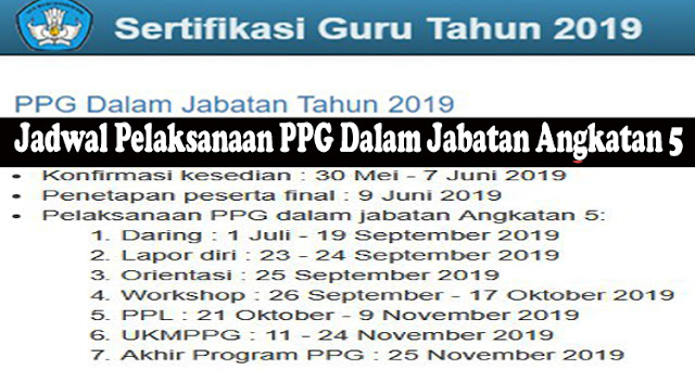 Jadwal Pelaksanaan PPG Dalam Jabatan Angkatan 5 (PPG Dalam Jabatan Tahun 2019)