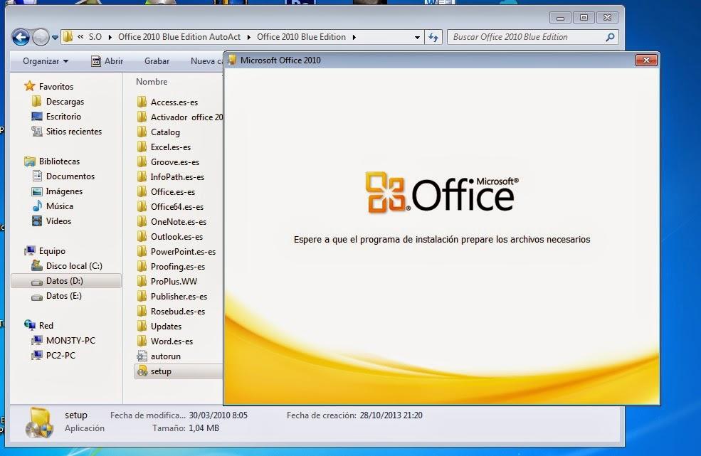 MICROSOFT OFFICE BLUE EDITION 2010 + ACTIVADOR ESPAÑOL MEGA ~ ANIMETECNO