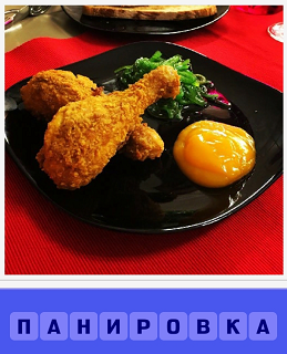 на столе на блюде в панировке ножка курицы