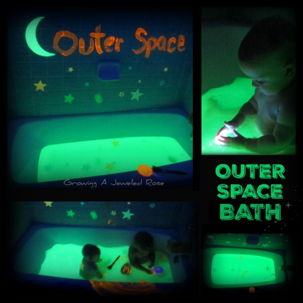 OUTER SPACE BATH: this bath let's little ones escape to Outer Space while swimming in a tub of GLOWING bath water!  SO COOL!  full of magical imaginative & sensory play