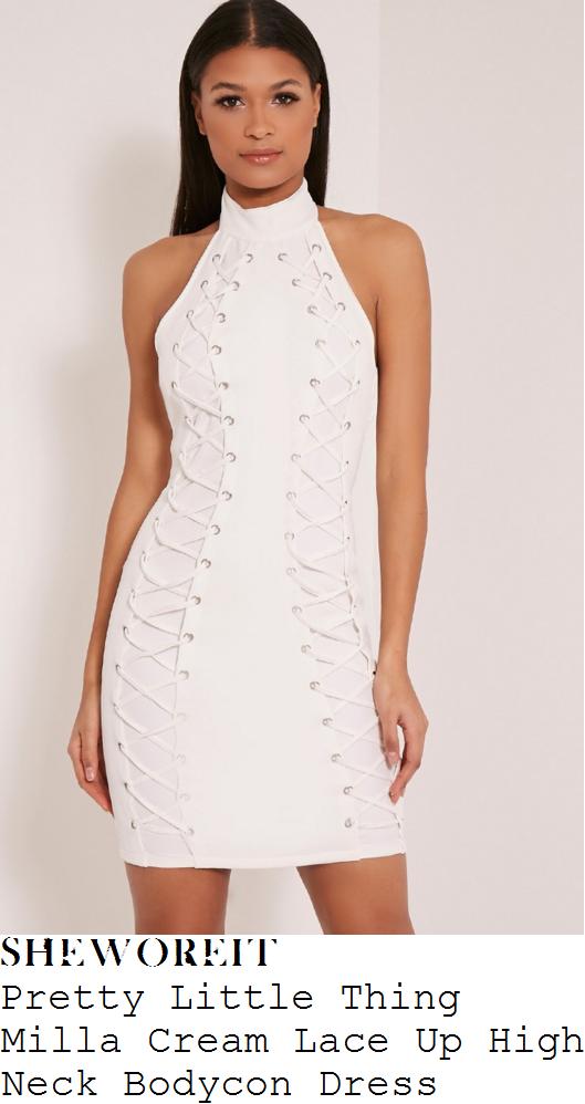 georgia-kousoulou-pretty-little-thing-milla-cream-lace-up-high-neck-bodycon-dress