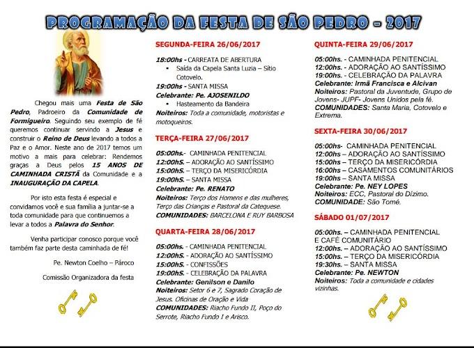 Programação da festa de São Pedro 2017 comunidade de formigueiro