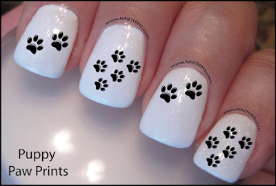Puppy Paw Print Nail Art Designs