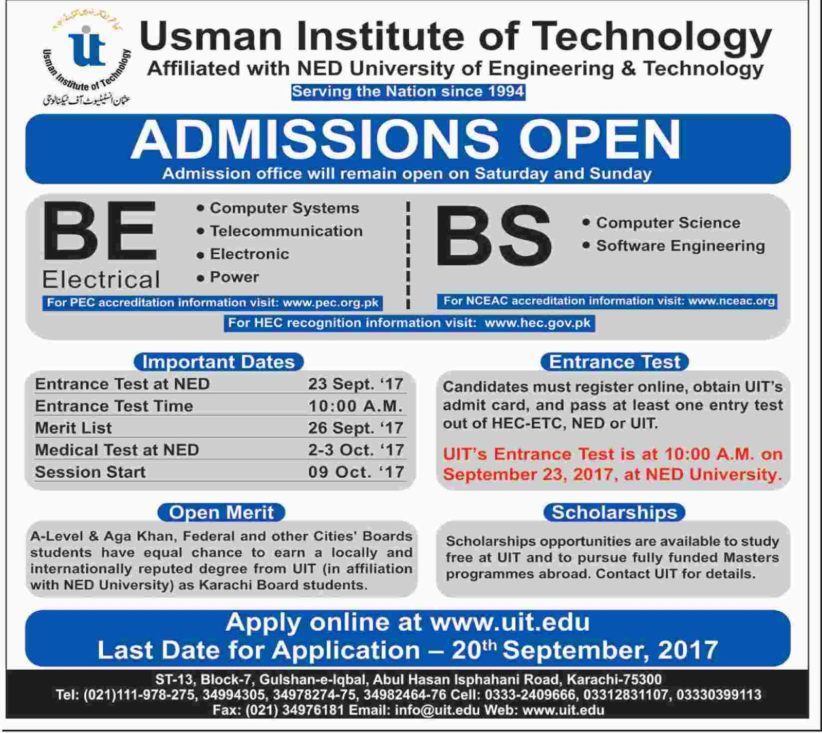 Admissions Open in Usman Institute of Technology Karachi - 2017