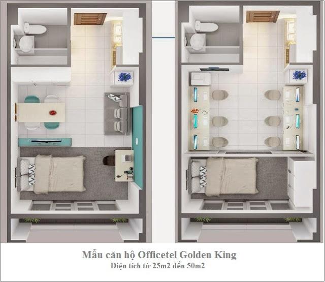Thiết kế mẫu căn hộ Officetel Golden King Quận 7