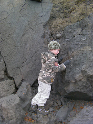excavating a fossil belemnite on the jurassic coast dorset