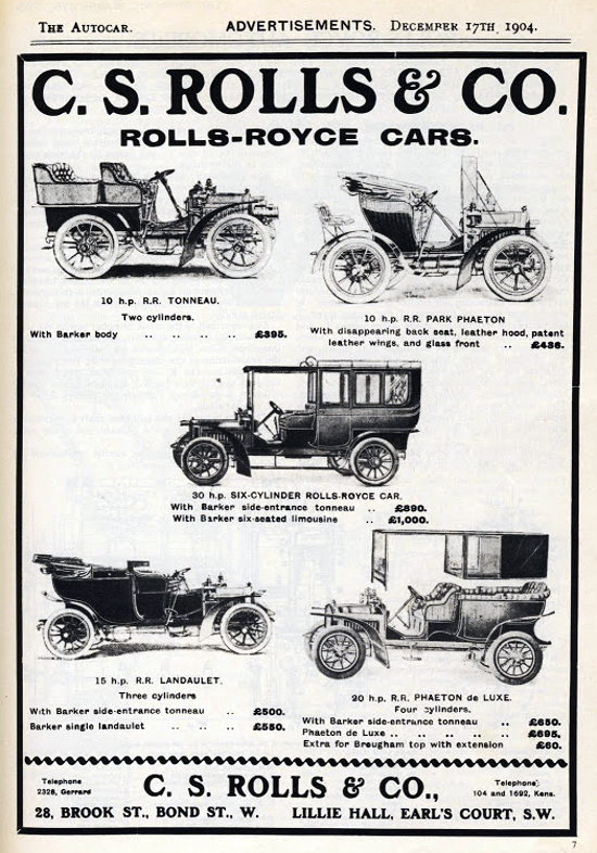 Rolls-Royce advertising 1904