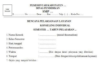 Contoh Format Rencana Pelaksanaan Layanan Konseling Individu (untuk BK SMP)