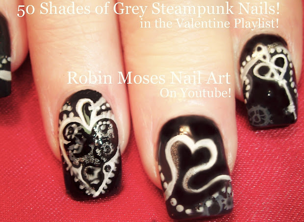 50 Shades of Grey Nail Art Design