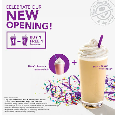 The Coffee Bean & Tea Leaf Buy 1 Free 1 Promo Plaza Arkadia Desa ParkCity
