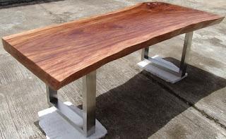 meja makan kayu trembesi kaki almunium