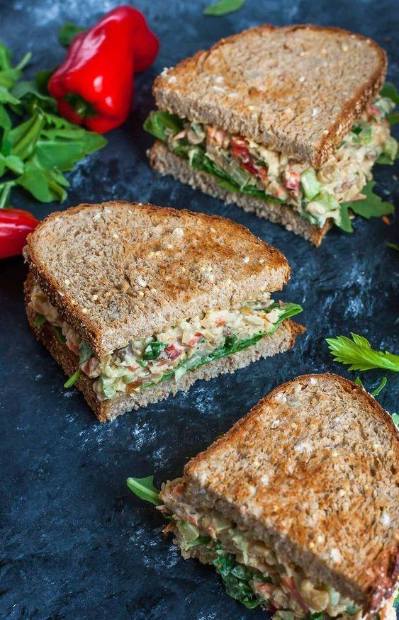 GARDEN VEGGIE CHICKPEA SALAD SANDWICH #garden #veganrecipes #vegan #veggies #chickpea #salad #sandwich #vegetarianrecipes #easyvegetarianrecipes