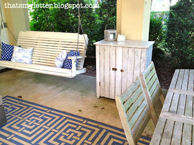 vintage cabinet on patio