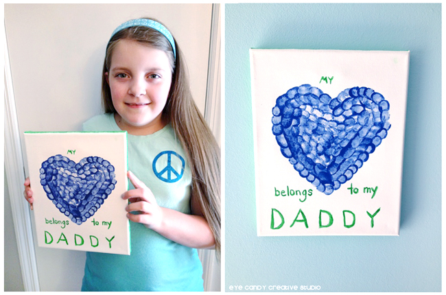 kids craft ideas, father's day gifts made from kids, canvas art, thumbprint