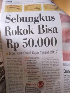Harga Rokok Diwacanakan Rp50.000 Per Bungkus