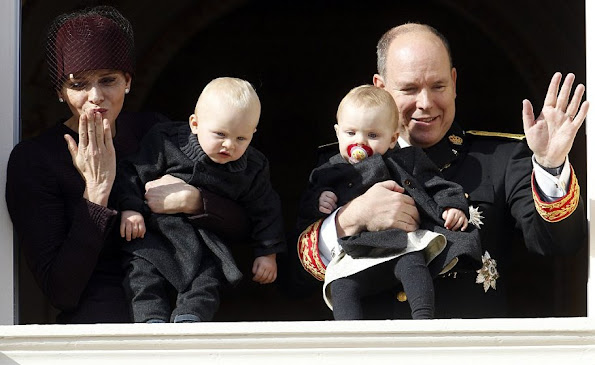 Princess Charlene of Monaco with Princess Gabriela and Prince Albert II of Monaco with Prince Jacques