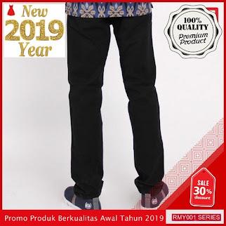 RMY087R45 Raf Celana Chinos Panjang Keren Pria Black BMGShop