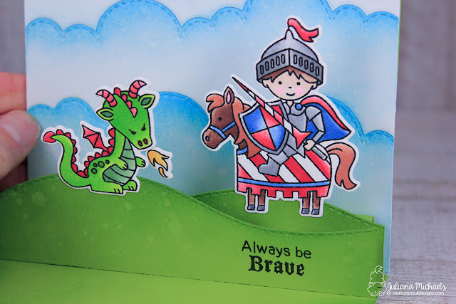 Always Be Brave Pop Up Card by Juliana Michaels featuring Newton's Nook Designs Knight's Quest Stamp Set