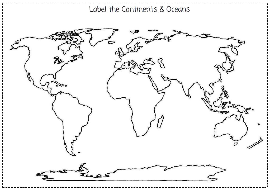 Worksheets Continents And Oceans Quiz Worksheet imans home school continents oceans cut label the map worksheet